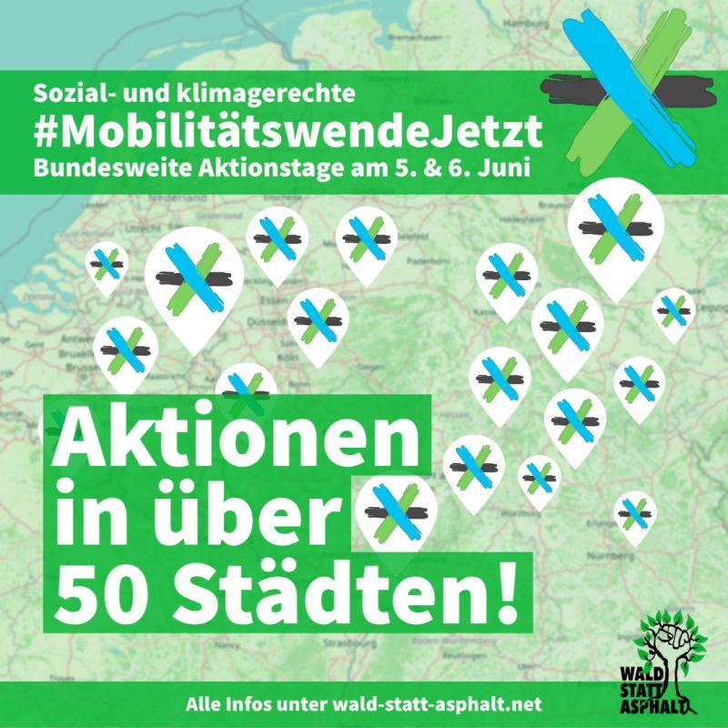 """Karte von Deutschland mit Punkten und dem Text """"Aktionen in über 50 Städten!"""""""